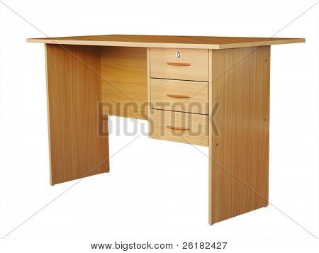 Student desk isolated with clipping path