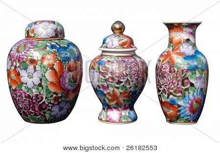 Three China Ornaments isolated with clipping path