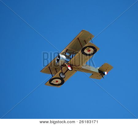 Replica Tiger Moth Radio Control Plane against a Clear Blue Sky
