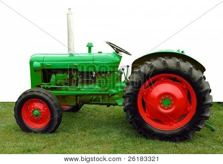1960 Vintage Tractor isolated with clipping path