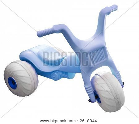 Blue Toy Trike isolated with clipping path