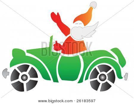 Santa in Green Car in vector format