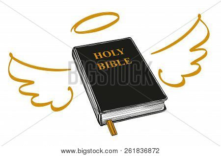 poster of Holy Bible With Wings And Halo Gospel, The Doctrine Of Christianity, Symbol Of Christianity Hand Dra