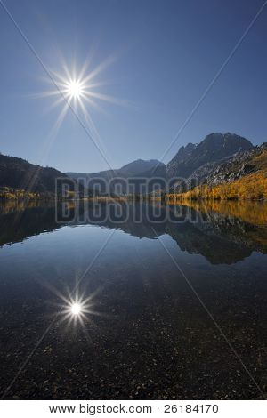 Reflection Of Sun, Mountains, And Aspens