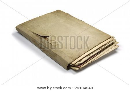 folder with sheets of very old notes paper isolated on white