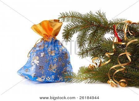 Chrismas gift with branch of Christmas tree isolated on white