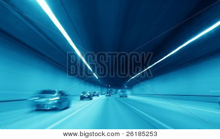 blue night highway tunnel