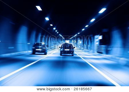 highway tunnel at night