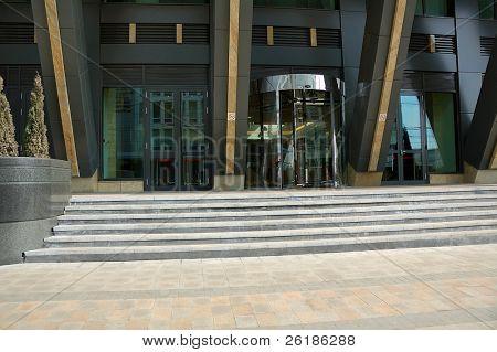 revolving door of entrance of modern office building