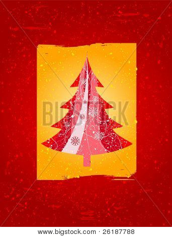 Red christmas tree with a yellow box, a red background and lot of snowflake