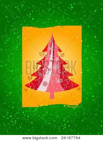 Red christmas tree with a yellow box, a green background and lot of snowflake