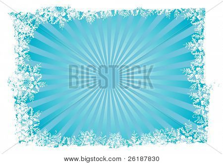 Blue christmas background with snowflake frame and sunset -2-