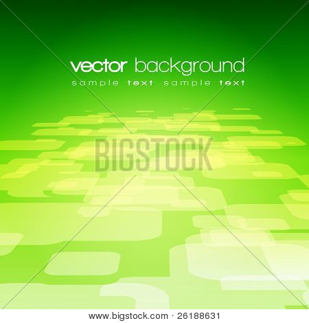 Vector 3D square on the green background with text