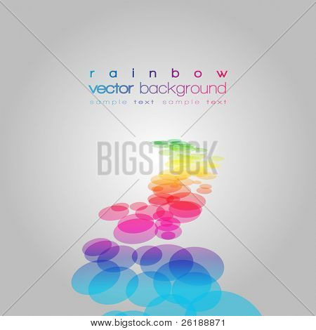 Vector 3D rainbow circles on the grey background with text