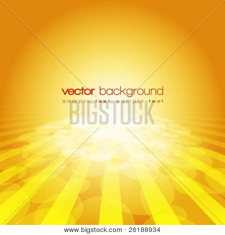 Vector 3D circle and perspective lines on the gold background with text