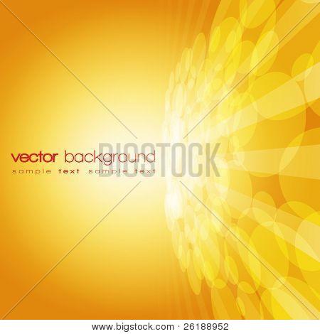 Círculo 3D do vetor e as linhas de perspectiva sobre o fundo dourado com texto