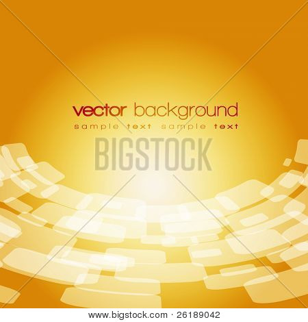 Vector 3D warped square on the gold background with text