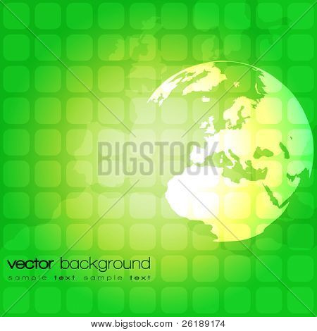 Green abstract vector background with world globe on square pattern