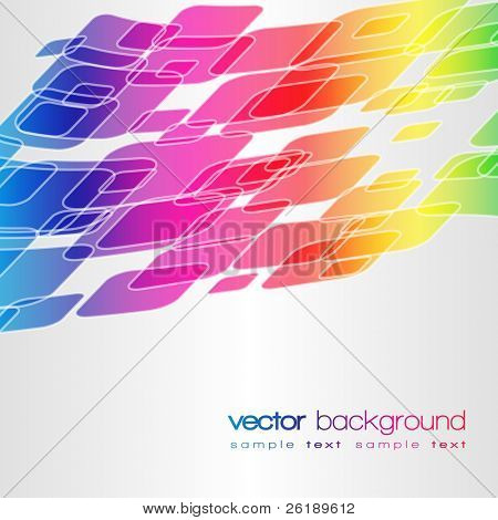 EPS10 Rainbow vector motion warped square on background with text
