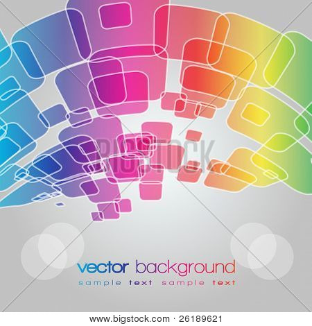 EPS10 Rainbow perspective warped squares vector background with text