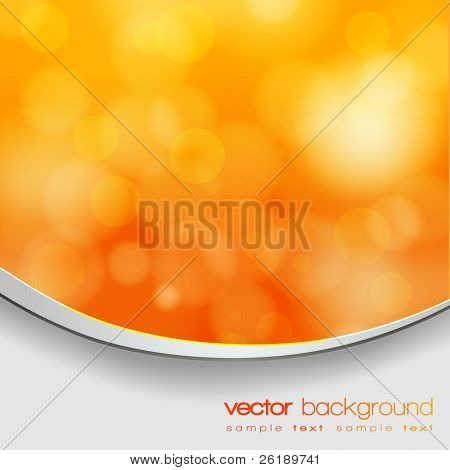 EPS 10 Orange and yellow bokeh abstract light background with frame and shadow - Vector illustration