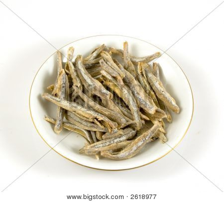 Salter Anchovy On A Plate Isolated