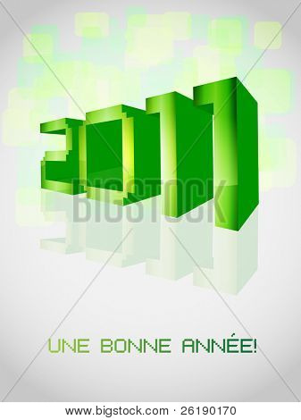 EPS10 New 2011 Year Vector Card With French Text