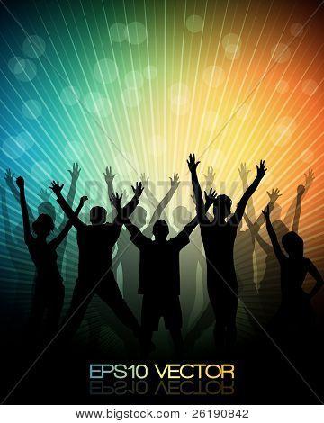 EPS10 Party People Vector Background - tanzende junge Menschen.