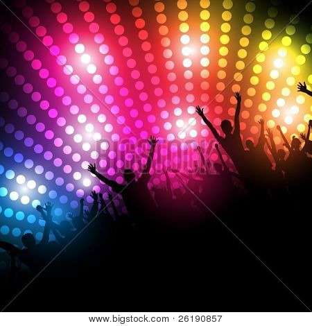 EPS10 Party People Vector Background - Dancing Young People.