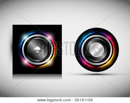 CD Cover Design Template - Speaker with Glowing Lights Behind. Vector Illustration