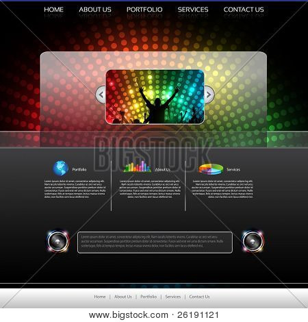EPS10 Music Website Template - Vector Design