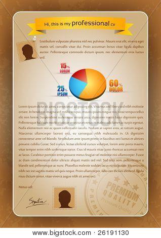 Escritura de CV creativo colorido con gráfico 3D y matasellos - Editable Vector Illustration