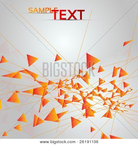 Abstract Perspective Orange Triangle Background with Lines - EPS10 Vector illustration