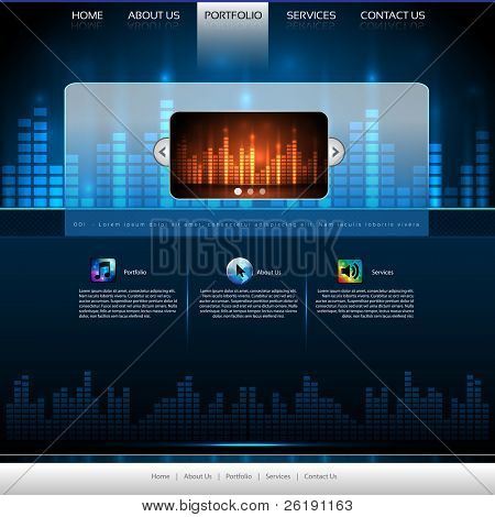 EPS10 Colorful Music Website Template - Vector Design