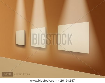 3D Brown Frames of Pictures on the Wall - Realistic Vector Design