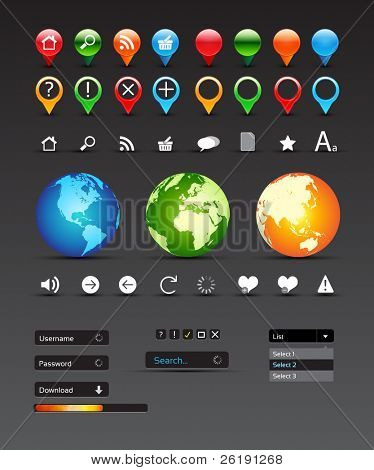 Collection Of Website Elements - Vector Design