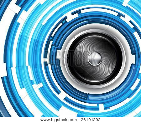 EPS10 Design for Bright Light-Blue Audiospeaker - Abstract Vector Background