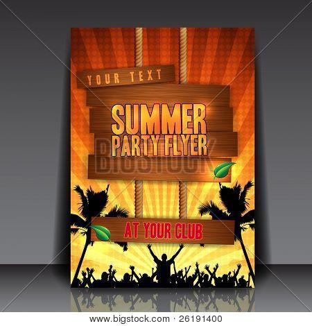 Festa de Verão laranja Flyer Design - ilustração do vetor de EPS10