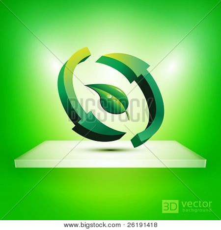 3D Isolated Shelf with Recycle Sign Inside a Leaf - EPS10 Vector illustration