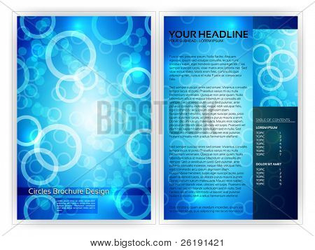 Blue Circles Brochure Template - EPS10 Vector Design