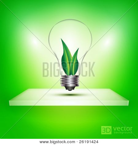 3D Isolated Shelf with Colorful Ecology Friendly Light Bulb Inside Two Leafs - EPS10 Vector illustration
