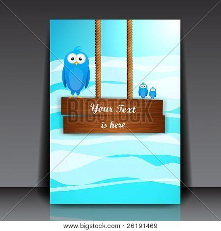 Wooden Billboard and Blue Birds on it. EPS10 Vector Illustration