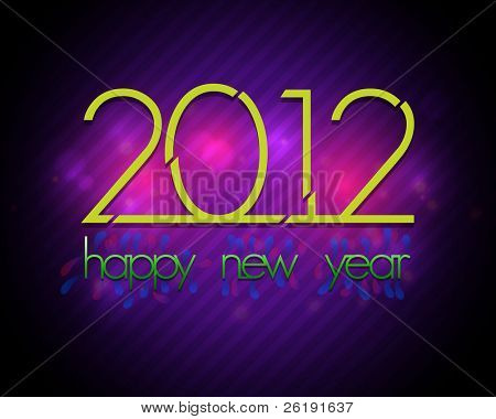 2012 - Vector New Year Card - Colorful Retro Design