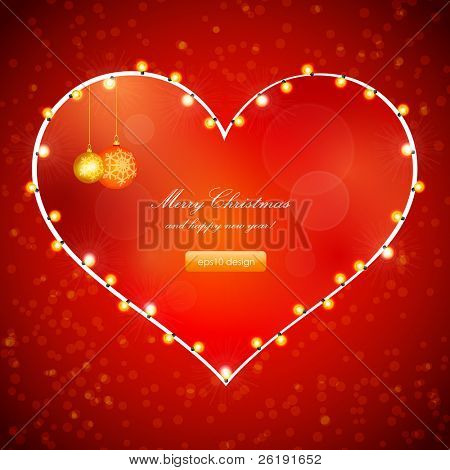 Red Holiday Xmas Vector Design with Frame of Heart. Christmas balls and lamp festive garland.