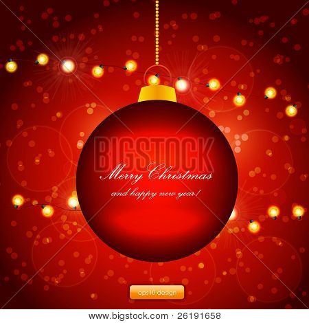 Red Holiday Xmas Ornament Vector Design. Christmas ball and lamp festive garland.