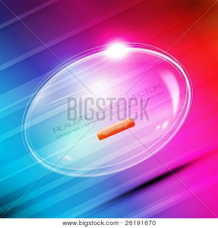 Colorful Abstract Background - Glass Ball - Vector Speech Bubble