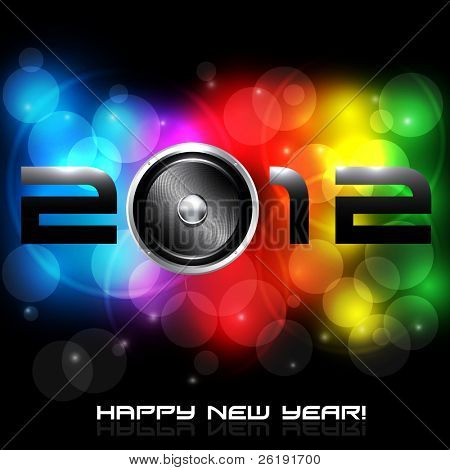EPS10 Colorful New Year Celebration Background with Glitter, Rainbow Colours, Speaker and 2012 Message