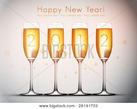 2012 Happy New Year Vector Illustration - Four glasses of champagne.