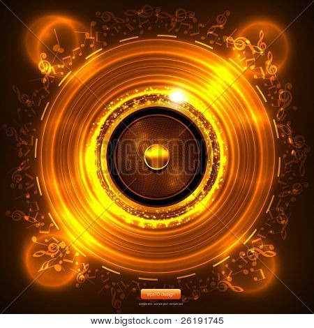 Audio-Lautsprecher mit Musik Noten gold abstract eps10 Vektor design