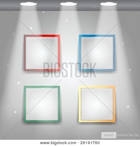Gallery Interior with empty colorful frames on wall - EPS10 Vector Design